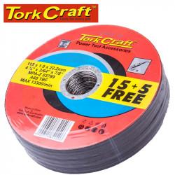 15+ 5 FREE CUTTING DISC STEEL 115 X 1.0 X 22.2MM