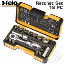 FELO 057 MIN.RATCHET SET 18PCS BIT/SOCK. 1/4' STRONGBOX
