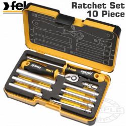 FELO 057 ERG. RATCHET SET 10PCS NUT DR. 1/4' STRONG BOX