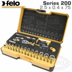 FELO 057 ERG. RATCHET SET 36PCS BIT/SOCK. 1/4' STRONGBOX
