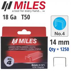 GALV STAPLES 18G T50 14MM X 1250PCS MILES NO4