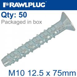 CONCRETE SCREWBOLT M10 12.5X75MM CSK HEAD ZINC BOX OF 50