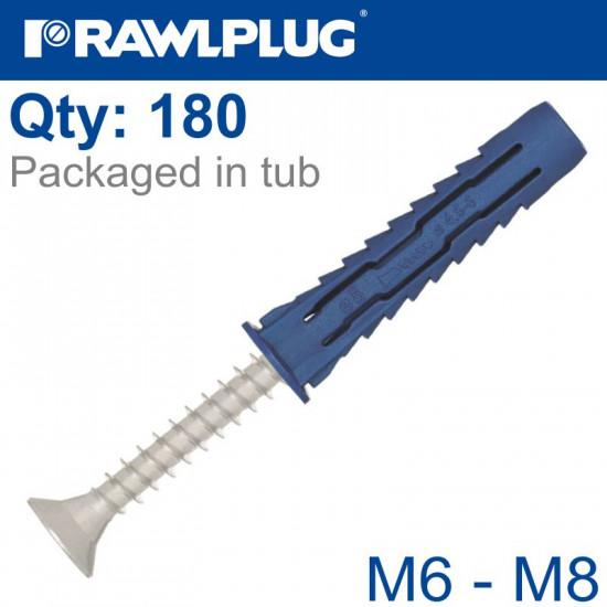 4ALL ASSORTED PLUGS M6 M8 & SCREWS TUB 180PCS