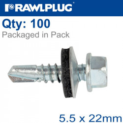 SELF DRILLING SCREWS 5,5X22MM WITH WASHER T14, 100PCS